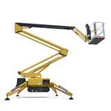 Mobile Luftarbeitplattform - Gelb scissor hydraulischen selbstfahrenden Aufzug auf einem Weiß Weicher Fokus Abbildung 3D Lizenzfreie Stockfotos