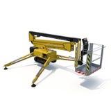 Mobile Luftarbeitplattform - Gelb scissor hydraulischen selbstfahrenden Aufzug auf einem weißen Hintergrund Abbildung 3D Lizenzfreie Stockfotografie