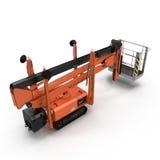 Mobile Luftarbeitplattform - Orange scissor hydraulischen selbstfahrenden Aufzug auf einem Weiß Abbildung 3D Lizenzfreies Stockfoto