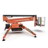 Mobile Luftarbeitplattform - Orange scissor hydraulischen selbstfahrenden Aufzug auf einem Weiß Abbildung 3D Stockbild