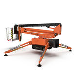 Mobile Luftarbeitplattform - Orange scissor hydraulischen selbstfahrenden Aufzug auf einem Weiß Abbildung 3D Stockfotos