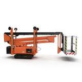Mobile Luftarbeitplattform - Orange scissor hydraulischen selbstfahrenden Aufzug auf einem Weiß Weicher Fokus Abbildung 3D Stockbild
