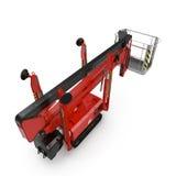 Mobile Luftarbeitplattform - Rot scissor hydraulischen selbstfahrenden Aufzug auf einem Weiß Abbildung 3D Lizenzfreie Stockfotografie