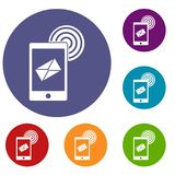 Mobile mail sign icons set. In flat circle red, blue and green color for web Royalty Free Stock Photos