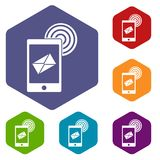 Mobile mail sign icons set hexagon Stock Images
