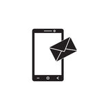 Mobile mail solid icon, sms sign, message Royalty Free Stock Image