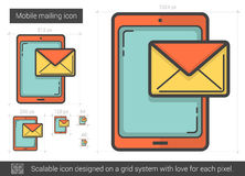 Mobile mailing line icon. Mobile mailing vector line icon  on white background. Mobile mailing line icon for infographic, website or app. Scalable icon designed Royalty Free Stock Photo