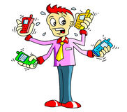Mobile man. Cartoon image of worker with phones Vector Illustration
