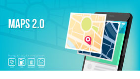 Mobile maps. Navigation system and maps app for smartphone and mobile banner Stock Images