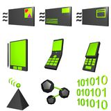 Mobile Market Icons. Set Black and Green Royalty Free Stock Images