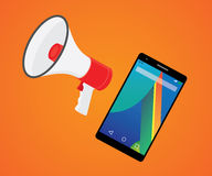 Mobile marketer promotion with smartphone and megaphone Stock Images