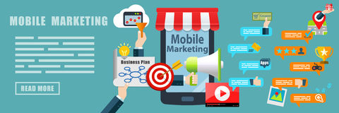 Mobile Marketing Concept Banner Background Stock Photos