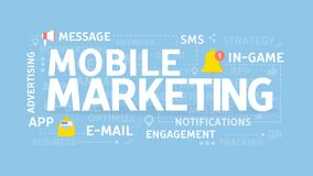Mobile marketing concept. Mobile marketing concept illustration. Idea of notification, message and app Stock Photography