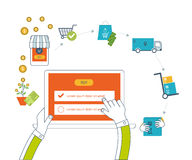 Mobile marketing concept. Online shopping. Shopping basket. Investment business. Delivery. Stock Photo