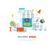 Mobile marketing concept. Online shopping. Shopping basket. Investment business. Delivery. Royalty Free Stock Photo