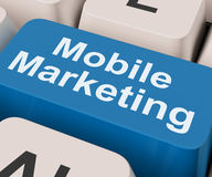 Mobile Marketing Key Shows Online Sales And Promotion Royalty Free Stock Photos