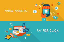Mobile marketing and pay per click Royalty Free Stock Image