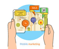 Mobile marketing. And personalizing. Human hands hold a smartphone with map and commercial pins. Text outlined, free font Lato vector illustration
