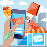 Mobile marketing and shopping concept Royalty Free Stock Image