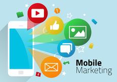 Mobile marketing. Smartphone illustrated with social media icons for email, messaging, photos, like with graphic mobile marketing Stock Photo