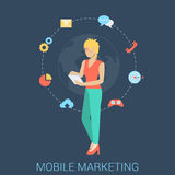 Mobile marketing strategy vector flat style concept. Flat style modern mobile marketing business strategy infographic concept. Conceptual web illustration young Royalty Free Stock Photos