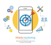 Mobile marketing. And targeting. Flat contour illustration of a smartphone with dartboard in the screen. Text outlined, free font Lato stock illustration