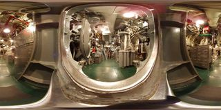 MOBILE - MAY 12: USS Alabama warship BB-60, 360 VR view inside engine machinery room aboard this South Dakota - class battleship. Warship / battleship in VR 360 stock photo