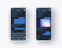 Free Mobile Messanger Application Mock Up On Two Screen With Keyboard. Smart Phone Concept Of Chat App In Realistic 3d Style Stock Images - 163427204