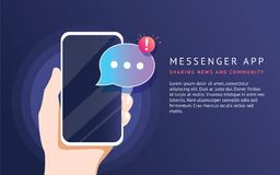 Mobile messenger app for texting messages to friends. Concept flat neon vector illustration stock illustration