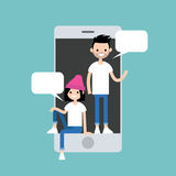 Mobile messenger concept. Millennial friends chatting Royalty Free Stock Image