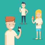 Mobile messenger concept. Social media. A group of young people with smartphones. Flat editable vector illustration, clip art Stock Photo