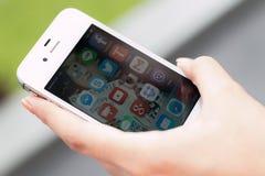 Mobile mit Anwendung Lizenzfreies Stockbild