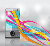 Mobile mit hellen Zeilen Stockbilder
