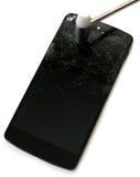 Mobile mit zerschmettertem Schirm Lizenzfreies Stockbild