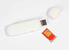 Mobile modem. Mobile internet modem. Connect to the PC or Mac with USB. Looks like a pen drive (flash memory) with SIM card Royalty Free Stock Images