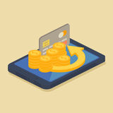 Mobile money or online banking concept Royalty Free Stock Images