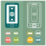 Mobile money online banking set concept turnovers vector Royalty Free Stock Photos