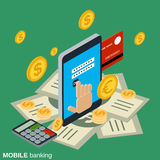 Mobile money transfer, payment, online banking, financial transaction. Flat isometric vector concept Stock Photos
