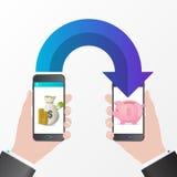 Mobile money transfer. Saving coins concept. Vector. Illustration Stock Photo