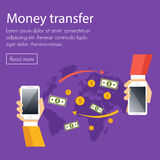 Mobile money transfer vector concept. Two hands take mobile devices and exchange coins Royalty Free Stock Photo