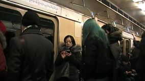 Mobile in the Moscow metro stock video
