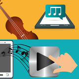 Mobile music fiddle and player note banner Stock Images