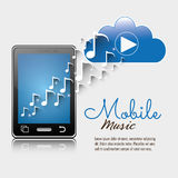 mobile music smartphone cloud player notes vector illustration
