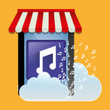 Mobile music store online cloud Stock Images