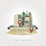 Mobile navigation apps concept in flat design Stock Photos