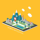 Mobile navigation concept 3d isometric infographic Stock Photography
