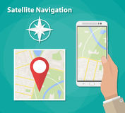 Mobile navigation concept. Hand holds smartphone with city map gps navigator on smartphone screen. Mobile navigation concept. City map with red pin. Vector royalty free illustration