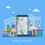 Mobile navigation concept vector illustration. Smartphone with gps city map on screen and route. Stock Photos