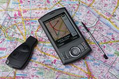 Mobile navigation GPS. A mobile telephone with built in gps an navigation software Royalty Free Stock Photo