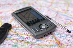 Mobile navigation GPS. A mobile phone with gps navigation Stock Photography